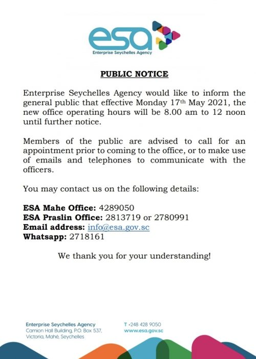 Notice - ESA Office Operating Hours